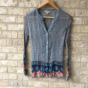 Lucky Brand Sheer Scrunched Up Top Women's Size S